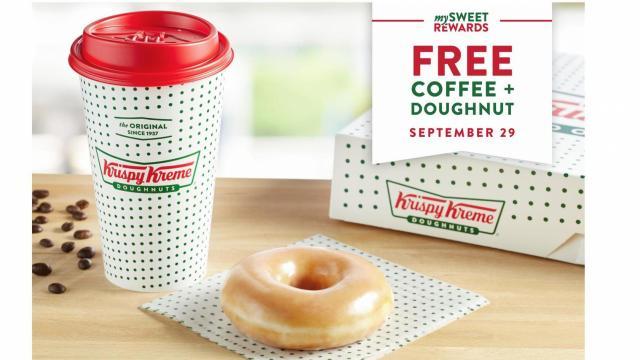 Krispy Kreme National Coffee Day Offer (photo courtesy Krispy Kreme)
