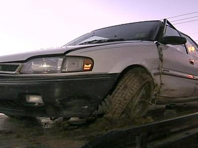 Erick Jerome's vehicle after he fell asleep at the wheel on Jan. 1, 2009 and crashed into a ditch on Ten Ten Road.