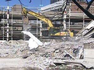 Crews work at the Wake County Justice Center site on March 3, 2009.