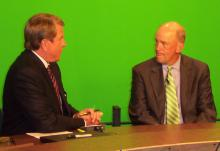 Scott Custer, right, talks with WRAL's David Crabtree during a 2008 interview.