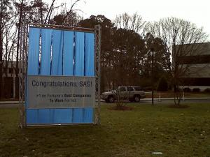 A sign outside SAS headquarters in Cary on Jan. 20, 20122, congratulates the software company on topping Fortune magazine's annual list of best places to work.