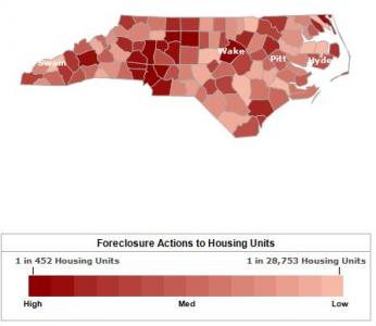 Tracking foreclosures in NC. (RealtyTrac graphic)