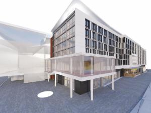 Artist rendering of the planned Aloft hotel at Durham's American Tobacco Campus