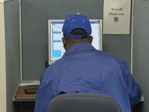 Job seekers use computers at Raleigh's Capital Area Workforce Centers to find their right match.
