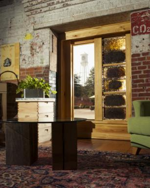 The Burt's Bees observation hive replaces a double glass door and can bee seen from inside and out. Photos Copyright © D.L. Anderson Pictures 2014