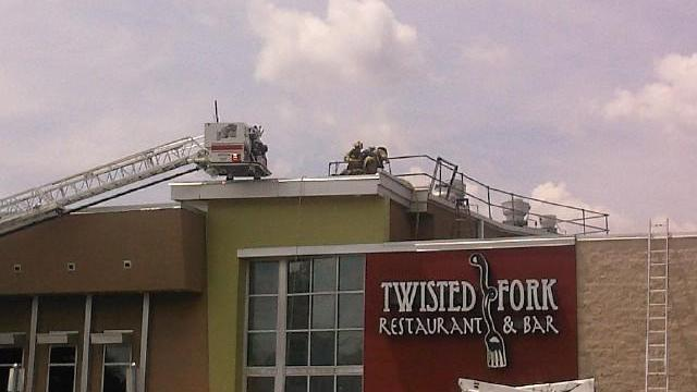 The Twisted Fork restaurant in Raleigh's Triangle Town Center was closed Saturday after a fire damaged the roof. (Viewer photo)