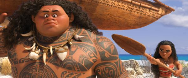 """MOANA'S MISSION — Maui (voice of Dwayne Johnson) may be a demigod—half god, half mortal, all awesome—but he's no match for Moana (voice of Auli'i Cravalho), who's determined to sail out on a daring mission to save her people. Moana's first challenge is convincing Maui to join her. Directed by Ron Clements and John Musker, produced by Osnat Shurer, and featuring music by Lin-Manuel Miranda, Mark Mancina and Opetaia Foa'i, """"Moana"""" sails into U.S. theaters on Nov. 23, 2016. ©2016 Disney. All Rights Reserved. (Deseret Photo)"""