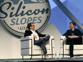Matt Cohler speaks with Josh James at the Silicon Slopes tech summit. (Deseret Photo)