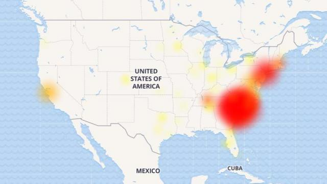 An outage map published by downdetector.com showed widespread issues with Verizon service March 22 centered over the Carolinas.