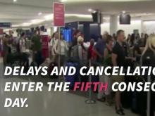 Delta flight delays, cancellations continue into fifth day