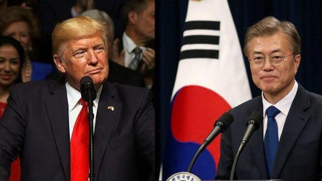 South Korea's new President Moon Jae-in dined with his US counterpart Donald Trump Thursday, June 29, 2017 evening, ahead of their formal meeting Friday, South Korean officials say.