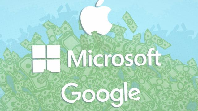 Apple, Google and Microsoft are sitting on a mountain of cash -- and most of it is stashed far away from the taxman. Those three tech behemoths held a total of $464 billion in cash at the end of last year.