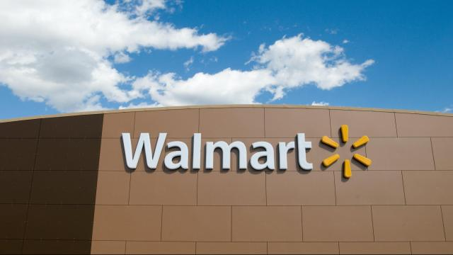Walmart has condemned a display inside one of its stores that appeared to market firearms as back-to-school items. The company said Wednesday it was working to identify which of its stores put up the exhibit. An exterior shot of a Walmart store. (File Photo)