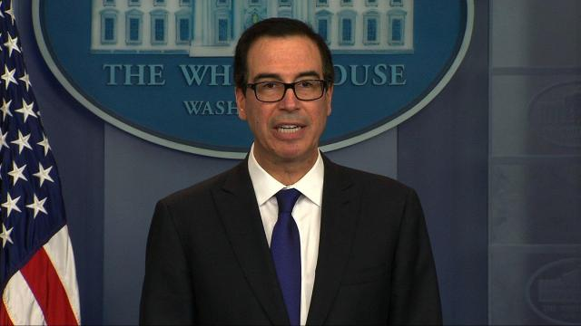 United States Secretary of the Treasury Steven Mnuchin speaks about the situation in Venezuela on July 31, 2017.