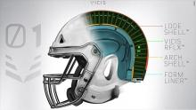 IMAGE: Flexible NFL helmet aims to reduce head injuries