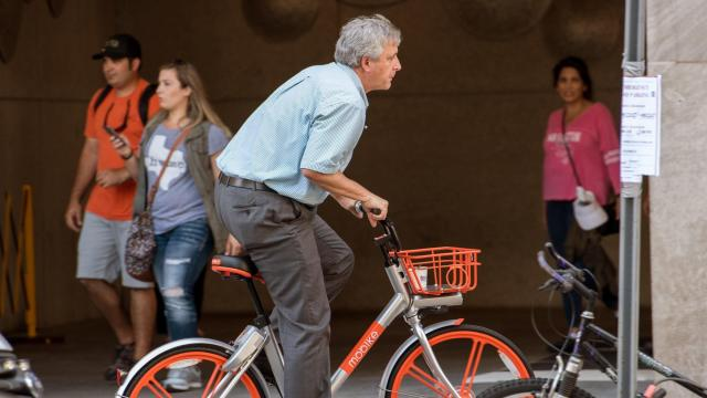 **This image is for use with this specific article only** The bikeshare market is being turned on its head, and the implications could be huge for cities. Chinese companies such as ofo and Mobike, which have each raised more than $1 billion to grow the concept, are expanding to the United States.