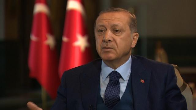 Turkish President Recep Tayyip Erdogan is seen here speaking to CNN in April 2017. (File Photo)