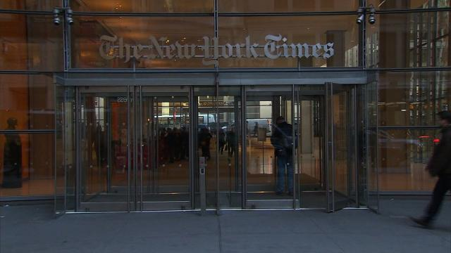 An exterior shot of the New York Times building in New York, New York.