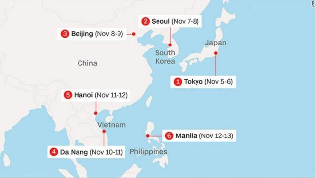 Trump's Asia itinerary covers five countries in a little over a week.