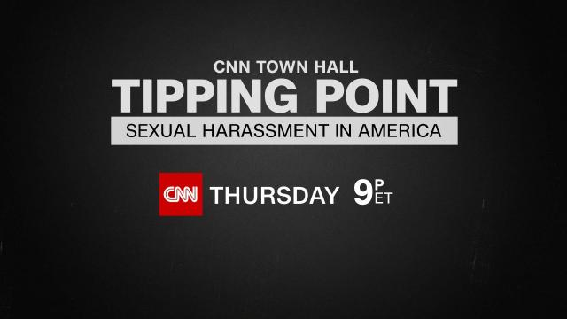 CNN anchor Alisyn Camerota will moderate a prime time Town Hall, Tipping Point: Sexual Harassment in America, on Thursday, Nov. 9 at 9 p.m. ET.