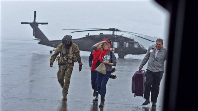 Two Louisiana National Guard Black Hawks flew nurses with blood, vaccines and other supplies in to Port Arthur and Beaumont.