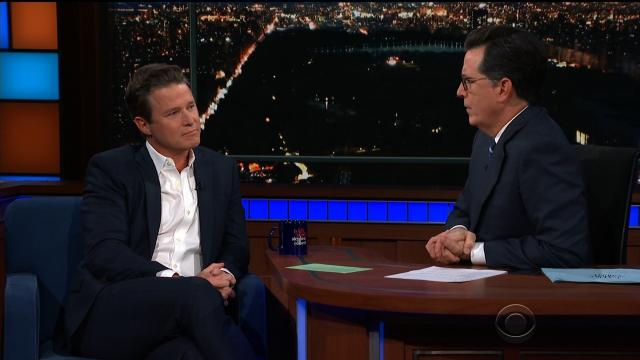 "Billy Bush appears on ""The Late Show with Stephen Colbert"" on Monday night."