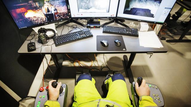 Erik Lundstrom remotely operates equipment at the New Boliden mine in Garpenberg, Sweden, Dec. 6, 2017. In a world full of anxiety about the potential job-destroying rise of automation, Sweden is well placed to embrace technology while limiting human costs. (Linus Sundahl-Djerf/The New York Times)