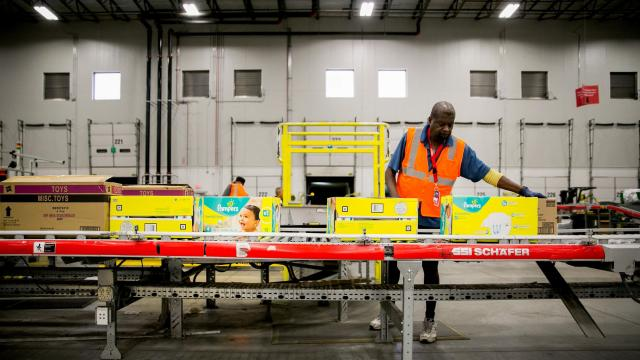 FILE — A Walmart fulfillment center in Bethlehem, Pa., Oct. 12, 2017. Amazon's purchase of Whole Foods sent shares of Walmart and other grocers tumbling, just one example of the long shadow cast by Amazon in 2017. (Sam Hodgson/The New York Times)