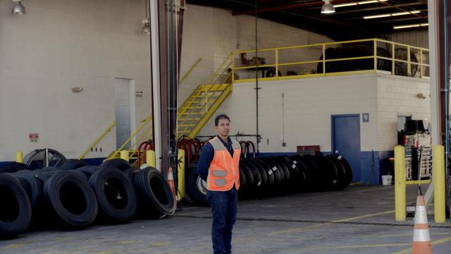 Raul Miranda, a Mexican truck driver, at Werner Enterprises, a major freight company, where cargoes from Mexico are handed off to American drivers in Laredo, Texas, Nov. 6, 2017. Restricted from operating in the United States, most Mexican drivers must hand off their cargo. The Trump administration wants even tighter controls. (George Etheredge/The New York Times)