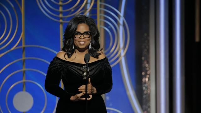 Oprah Winfrey accepts the Cecil B. Demille Award at the 75th Annual Golden Globe Awards held at the Beverly Hilton Hotel on January 7, 2018.