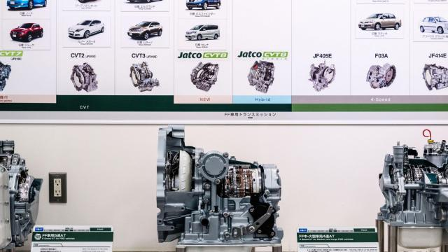 """The show room at the Jatco factory in Fuji, Japan, Dec. 19, 2017. The country, which missed out on some earlier technological shifts, is now scrambling to catch up as the world warms up to battery-powered vehicles. An immediate, total shift to electric vehicles """"would kill my business,"""" said Terry Nakatsuka, Jacto's chief executive. (Ko Sasaki/The New York Times)"""