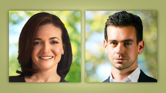 (File Photos) Facebook COO Sheryl Sandberg and Twitter CEO Jack Dorsey.