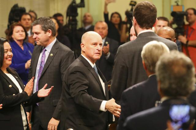 FILE -- Gov. Jerry Brown during his final State of the State address in Sacramento, Jan. 25, 2018. Economists say an economic downturn is unlikely soon, but Brown, California's longtime governor, wants the state to start preparing for the worst. (Jim Wilson/The New York Times)
