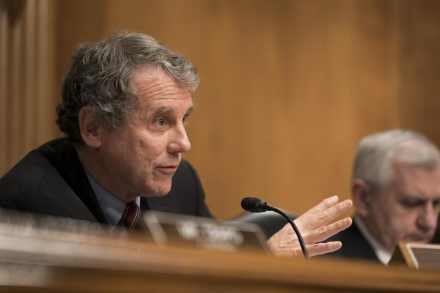 FILE — Sen. Sherrod Brown (D-Ohio) at a hearing on Capitol Hill in Washington, Feb. 6, 2018. Brown represents many retirees covered by multiemployer pension plans and fought for the creation of a select congressional committee to craft what could effectively be a federal rescue of as many as 200 of the plans. (Erin Schaff/The New York Times)