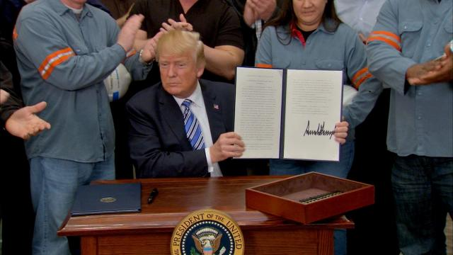 President Trump signed proclamations at the White House Thursday that establish new tariffs on steel and aluminum imports.