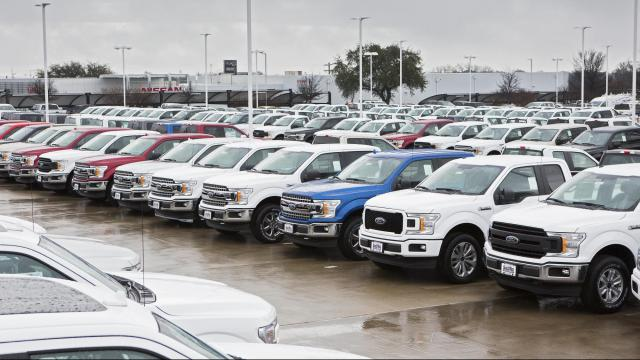 FILE -- Ford pickups on a dealer's lot in Weatherford, Texas, Feb. 28, 2018. In the 11 months since Jim Hackett took over as chief executive at Ford Motor Co., he has shuffled the executive ranks and outlined plans to introduce new sport-utility vehicles and electric cars. Other steps in his strategy, however, have been slow in coming. (Joe Vaughn/The New York Times)
