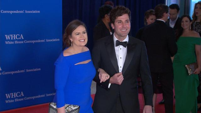White House press secretary Sarah Sanders is seen here on the red carpet at the 2018 White House Correspondents' Dinner in Washington, DC.