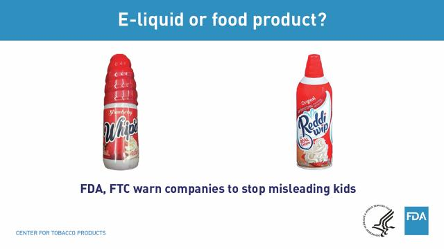 An undated handout image provided by the U.S. Food and Drug Administration shows misleading packaging on liquid nicotine products, left, compared to an actual Reddi-wip food product. Federal authorities said on May 1, 2018, they were issuing 13 warning letters to companies that sell liquid nicotine and electronic cigarettes in packaging designed to attract children, including ones that resemble juice boxes and others that look like candy. (U.S. Food and Drug Administration via The New York Times) -- FOR EDITORIAL USE ONLY. --
