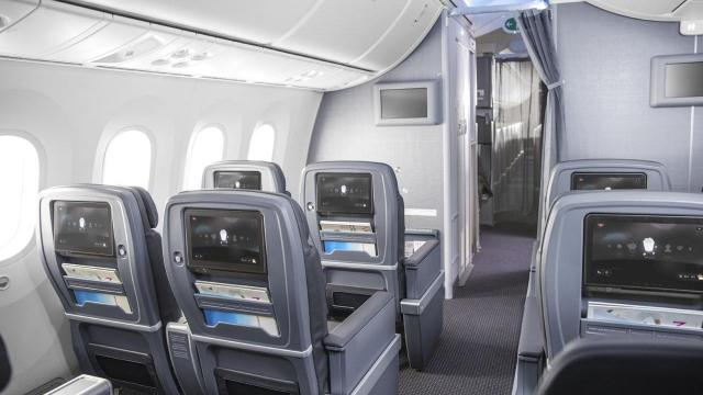 In an undated handout photo, American Airlines' premium economy seats. Passengers are increasingly willing to pay more for premium economy seats on long airplane trips that come with a host of other perks. (Handout via The New York Times) -- NO SALES; FOR EDITORIAL USE ONLY WITH FLIGHT PREMIUM PERKS BY JANE L LEVERE FOR JULY 16, 2018. ALL OTHER USE PROHIBITED. --