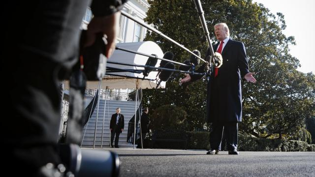 FILE -- President Donald Trump takes questions from reporters outside the White House, in Washington, March 13, 2018. More than 200 newspapers, including The New York Times, have committed to publishing editorials on the same day — Aug. 16, 2018 — on the dangers of the Trump administration's assault on the press. (Tom Brenner/The New York Times)