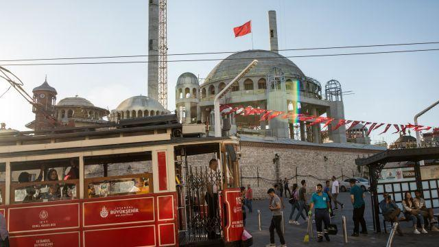 A mosque under construction on Taksim Square in Istanbul, Aug. 13, 2018. Turkey has unique challenges, but other emerging markets where big borrowing fueled rapid growth and strong returns could feel the pinch of a stronger dollar. (Nicole Tung/The New York Times)