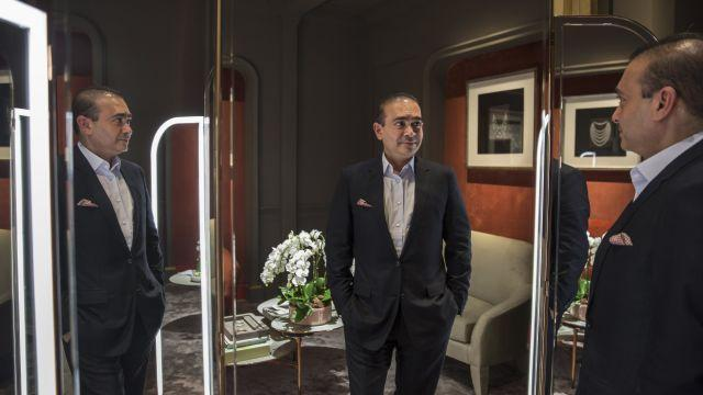 FILE -- Nirav Modi at his jewelry boutique in Hong Kong, March 2, 2017. Modi, who fled India in early 2018 amid accusations that he defrauded banks of $2 billion, has been located in Britain and is the subject of an extradition request, officials said on Aug. 20, 2018. (Billy H.C. Kwok/The New York Times)