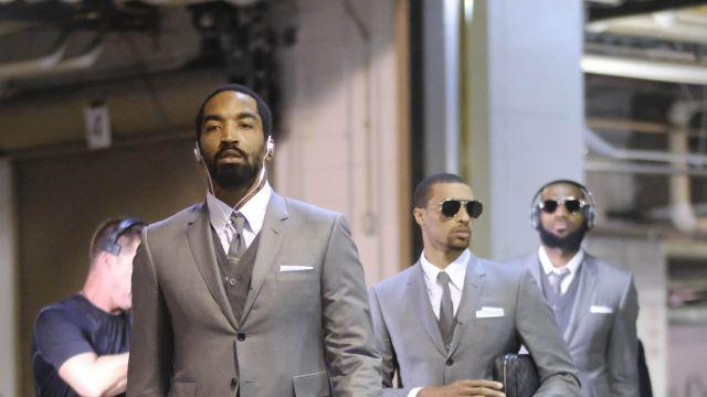 FILE-- J.R. Smith and the Cleveland Cavaliers arrive for a playoff game against the Pacers wearing Thom Browne's signature suits in Indianapolis, April 20, 2018. said on Aug. 28 it would buy a majority stake in Thom Browne, an insurgent American label, underscoring the family firm's ambitions to reach new markets and court a younger set of customers. (AJ Mast/The New York Times)