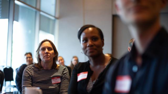Aimee Hendrigan, vice president of programs at Melville Charitable Trust, left, attends the A Way Home America brainstorming meeting in Atlanta, Oct. 3, 2018. Just giving money to a small foundation or a favored cause may not be enough, experts say. (Dustin Chambers/The New York Times)