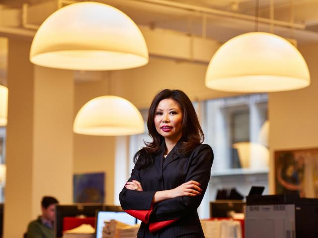 Amy Zhang, portfolio manager of Alger Small Cap Focus Fund, in New York, Oct. 9, 2018. Focused investing can be risky, but growth stocks and high-conviction bets helped propel three mutual funds, including Alger Small Cap Focus, to outsize gains in the third quarter. (James Keivom/The New York Times)