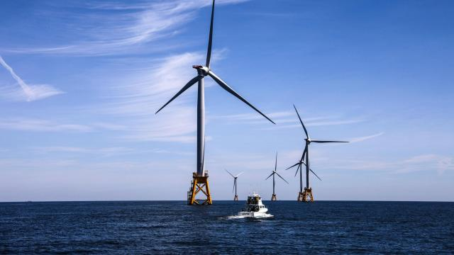FILE — Wind turbines off the coast of Rhode Island.  North Carolina, Maryland and Virginia's governors will work together to develop offshore wind energy resources. (Chang W. Lee/The New York Times)