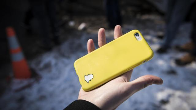 FILE -- A phone case with Snapchat's logo, in Manchester, N.H., Feb. 6, 2016. Snap, the company behind the popular social media service, helped more than 400,000 users register to vote during a recent two-week period, it announced on Oct. 23, 2018. Much of that came in battleground states like Texas, Florida and Georgia, the company said. (Ian Thomas Jansen-Lonnquist/The New York Times).