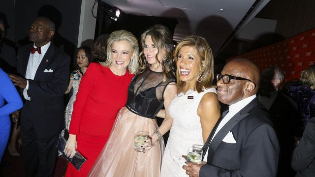 FILE -- Megyn Kelly, left, with Savannah Guthrie, Hoda Kotb, and Al Roker at the Time 100 Gala in New York, April 24, 2018. Kelly's standing at the network appeared shaky even before she made incendiary remarks on Oct. 23, 2018. A Los Angeles litigator just hired by Kelly has started negotiations with NBC about her potential exit from the network, according to two people briefed on recent discussions. (Rebecca Smeyne/The New York Times)