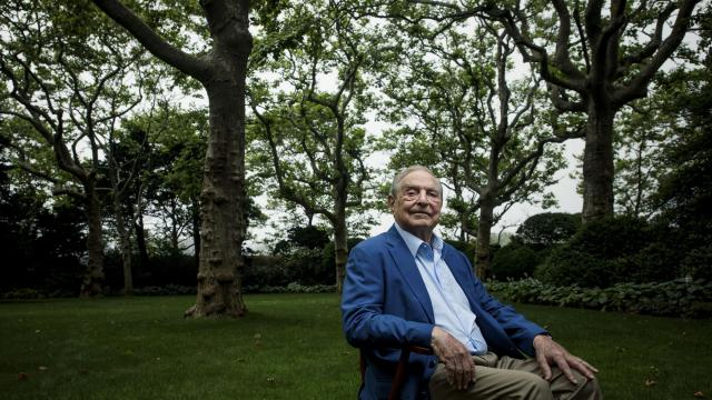 "FILE-- George Soros, the billionaire philanthropist, at home in Southhampton, N.Y., July 3, 2018. Campbell Soup Company said the company and an executive, Kelly Johnston, had agreed to ""accelerate"" Johnston's retirement after he said on Twitter in October 2018 that a foundation led by Soros was the driving force behind a caravan of thousands of migrants headed toward Mexico's border with the U.S. (Damon Winter/The New York Times)"