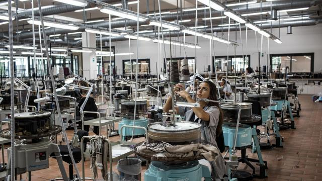 FILE — Brunello Cucinelli's sweater atelier in Solomeo, Italy, June 8, 2018. Economic growth in the eurozone has fallen to its slowest pace in more than four years, and Italy is not growing at all, according to figures released on Oct. 30; Italy's stagnation is likely to heighten the dispute between the EU and the populist government in Rome. (Nadia Shira Cohen/The New York Times)